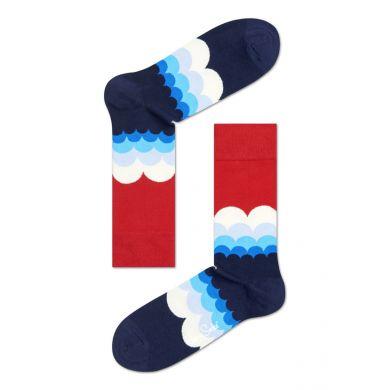 Červeno-modré ponožky Happy Socks s barevnými obloučky, vzor Rainbow Cloud