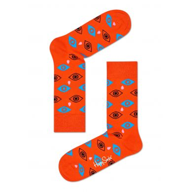 Oranžové ponožky Happy Socks s barevnýma očima a slzami, vzor Cry Baby
