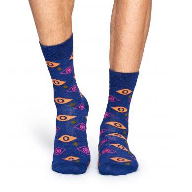Modré ponožky Happy Socks s barevnýma očima a slzami, vzor Cry Baby