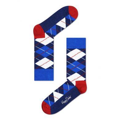 Modro-bílé ponožky Happy Socks s károvaným vzorem Argyle