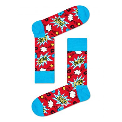 Červeno-modré ponožky Happy Socks s komiksovým vzorem, vzor Dad