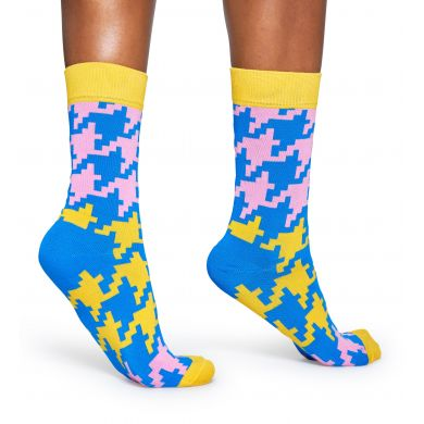 Barevné (žluté) ponožky Happy Socks s kohoutí stopou, vzor Dogtooth