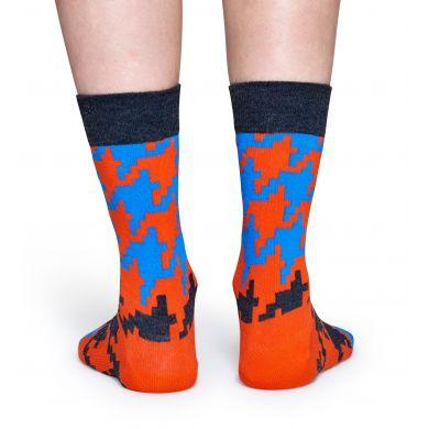 Červeno-tyrkysové ponožky Happy Socks s kohoutí stopou, vzor Dogtooth