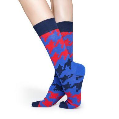 Červeno-modré ponožky Happy Socks s kohoutí stopou, vzor Dogtooth
