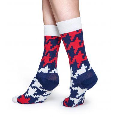 Barevné (bílé) ponožky Happy Socks s kohoutí stopou, vzor Dogtooth