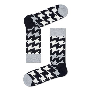 Černobílé ponožky Happy Socks s kohoutí stopou, vzor Dogtooth