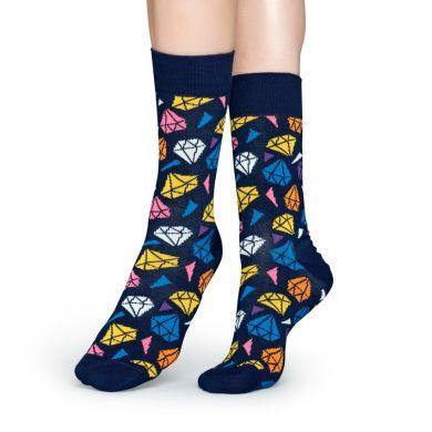 Modré ponožky Happy Socks s barevnými diamanty, vzor Diamond