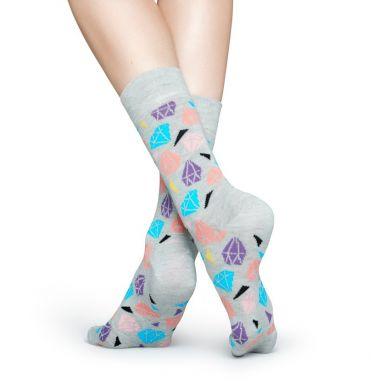 Šedé ponožky Happy Socks s barevnými diamanty, vzor Diamond