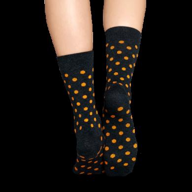 Šedé ponožky Happy Socks s oranžovými tečkami, vzor Dot