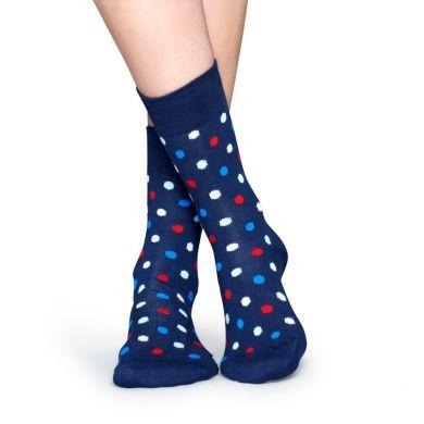 Modré ponožky Happy Socks s barevnými tečkami, vzor Dot