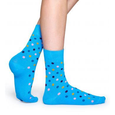 Tyrkysové ponožky Happy Socks s barevnými tečkami, vzor Dot