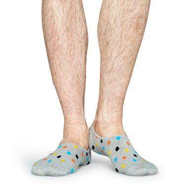 Šedé nízké vykrojené ponožky Happy Socks s barevnými tečkami, vzor Dot