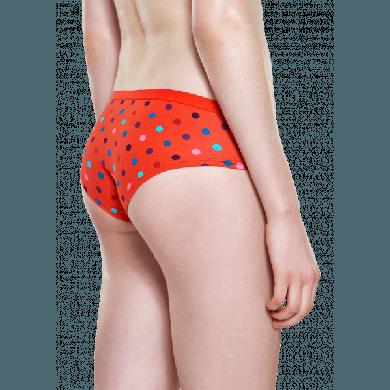 Červené kalhotky Happy Socks s barevnými tečkami, vzor Dot