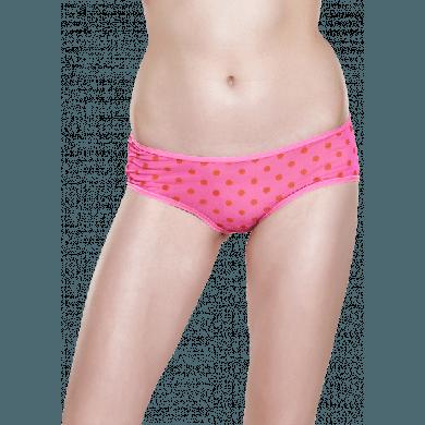 Růžové mesh kalhotky s červenými tečkami, vzor Dot