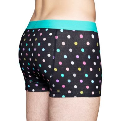 Černé boxerky Happy Socks s barevnými tečkami, vzor Dot