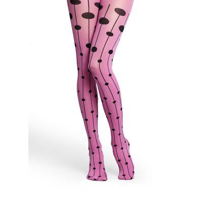Růžové punčocháče Happy Socks s černými puntíky na linkách