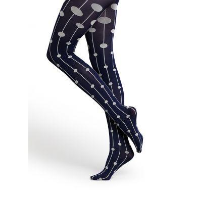 Modré punčocháče Happy Socks s šedými puntíky na linkách