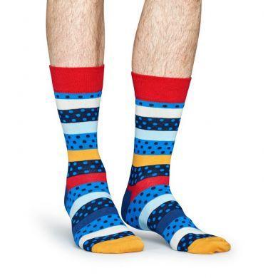 Barevné ponožky Happy Socks s puntíky a pruhy, vzor Dotted Stripe