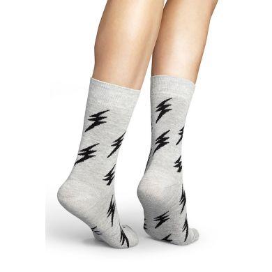 Šedivé ponožky Happy Socks s černými blesky, vzor Flash