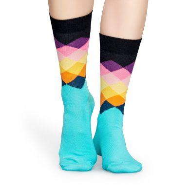 Tyrkysovo-černé ponožky Happy Socks s barevnými kosočtverci, vzor Faded Diamond