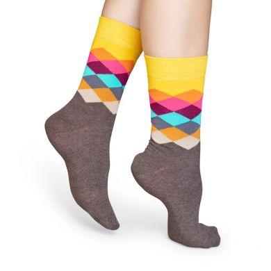 Barevné ponožky Happy Socks s kosočtverci, vzor Faded Diamond