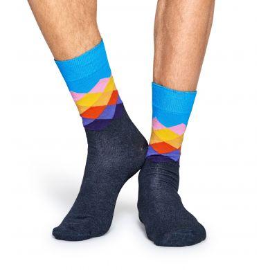 Modro-šedé ponožky Happy Socks s barevnými kosočtverci, vzor Faded Diamond