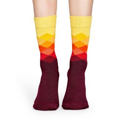 Vínovo-žluté ponožky Happy Socks s barevnými kosočtverci, vzor Faded Diamond - 2012 // 10 YEARS ANNIVERSARY