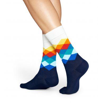 Modro-bílé ponožky Happy Socks s barevnými kosočtverci, vzor Faded Diamond