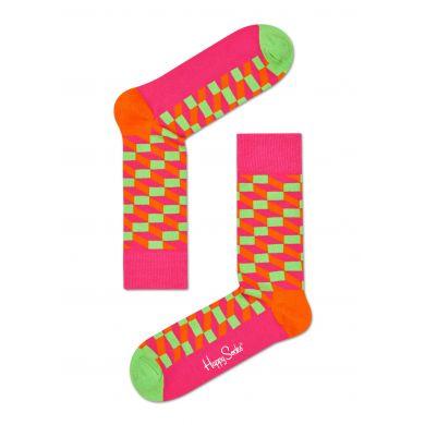 Růžovo-zelené ponožky Happy Socks se vzorem Filled Optic