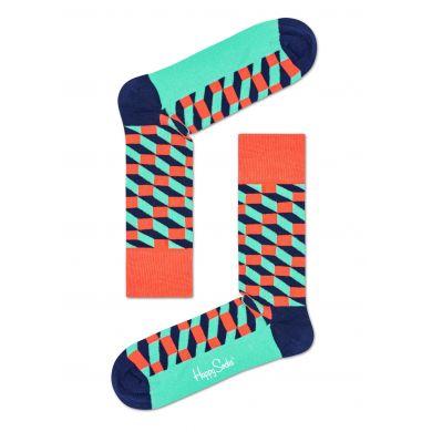 Tyrkysovo-korálové ponožky Happy Socks se vzorem Filled Optic