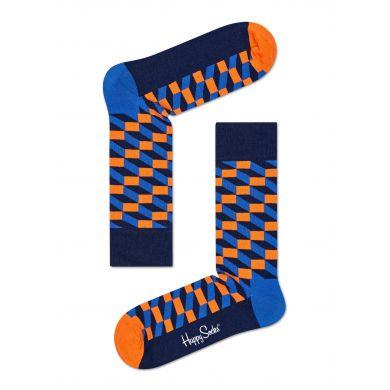 Oranžovo-modré ponožky Happy Socks se vzorem Filled Optic