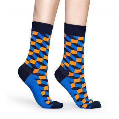 Modro-oranžové ponožky Happy Socks se vzorem Filled Optic - 2008 // 10 YEARS ANNIVERSARY