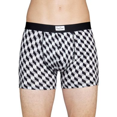 Šedé delší boxerky s knoflíčky Happy Socks s černobílým vzorem Filled Optic