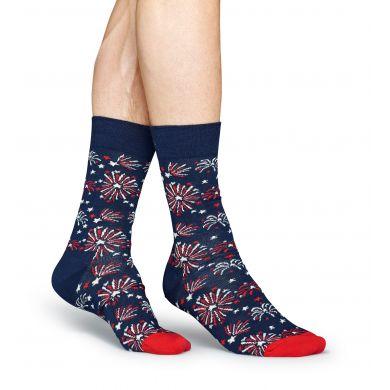Modré ponožky Happy Socks s barevnými ohňostroji, vzor Firework
