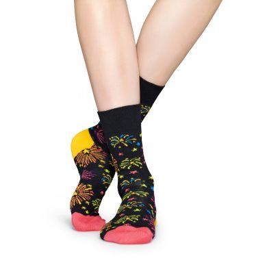 Černé ponožky Happy Socks s barevnými ohňostroji, vzor Firework