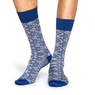 Modré ponožky Happy Socks s rybím vzorem // kolekce Dressed