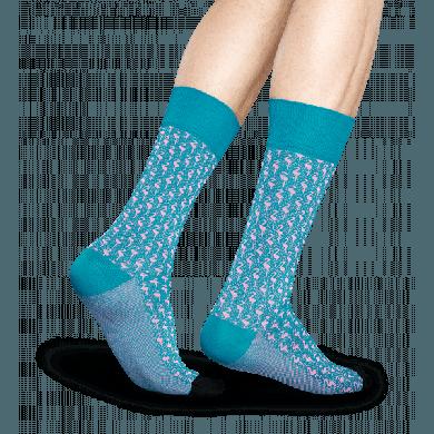 Tyrkysové ponožky Happy Socks s růžovými plameňáky, vzor Flamingo // kolekce Dressed