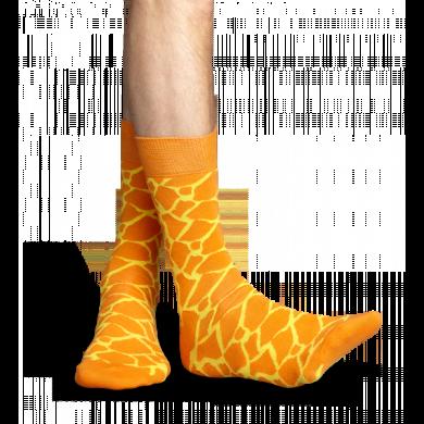 Oranžové ponožky Happy Socks se žlutým vzorem Giraffe