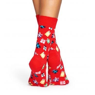 Červené ponožky Happy Socks s barevnými dárečky, vzor Gift