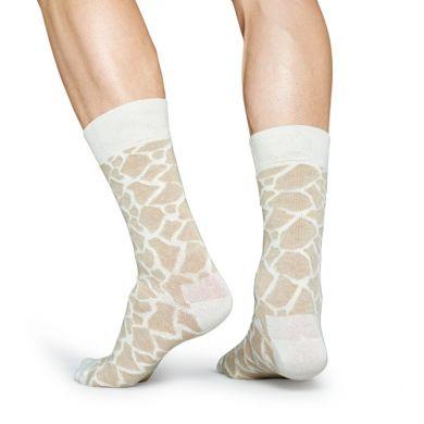 Béžovo-bílé ponožky Happy Socks se vzorem Giraffe