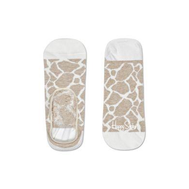 Béžovo-bílé nízké vykrojené ponožky Happy Socks se vzorem Giraffe