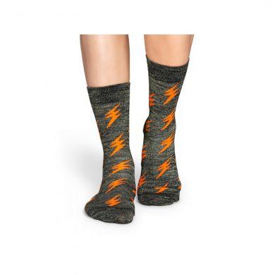 Šedivé ponožky Happy Socks s oranžovými blesky, vzor Flash