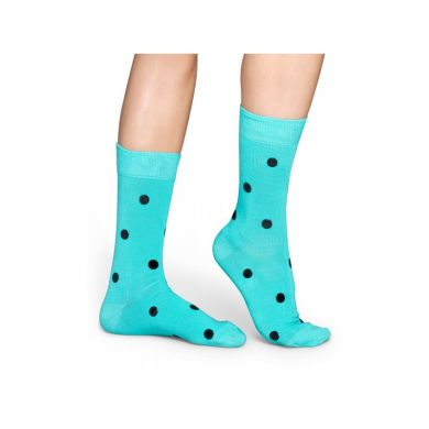 Tyrkysové ponožky Happy Socks s černými vinylovými puntíky