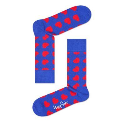 Modré ponožky Happy Socks s červenými srdíčky, vzor Diagonal Heart
