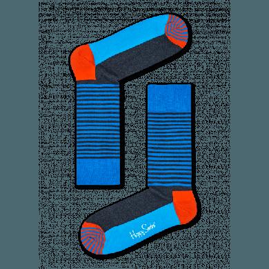 Modré ponožky Happy Socks s proužky, vzor Half Stripe