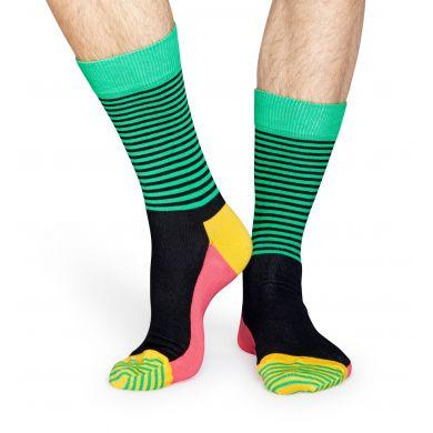 Barevné ponožky Happy Socks s proužky, vzor Half Stripe