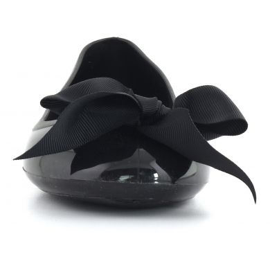 Jelly Ballerina With Solid Bow Black