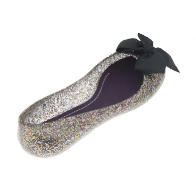 Jelly Ballerina in Glitter Black