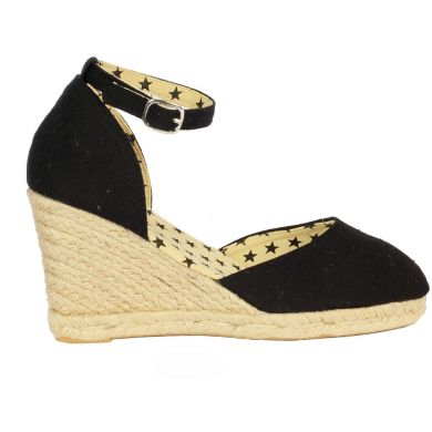Jute Wedge With Ankle Strap Black