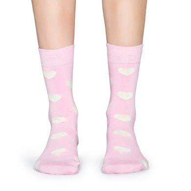 Růžové ponožky Happy Socks s bílými srdíčky, vzor Heart